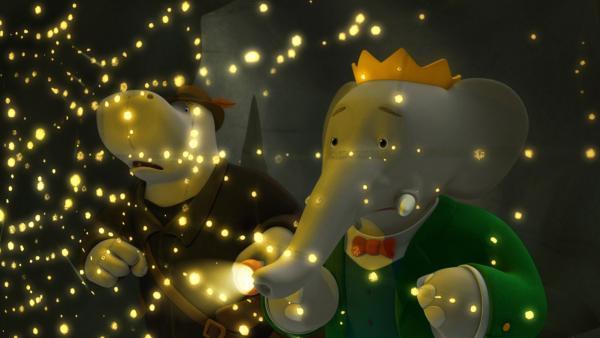 Heldopotamus und Babar begleiten Badou auf dem Weg zur Spinnenkönigin. | Rechte: KiKA/Nelvana Limited/TeamTO/YTV Productions