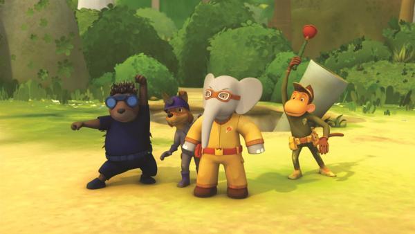 Badou und seine Freunde spielen im Geheimen Innenhof Retterteam. | Rechte: KiKA/Nelvana Limited/TeamTO/YTV Productions
