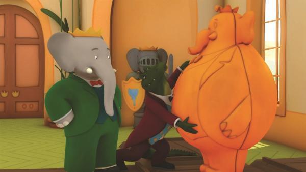 Botschafter Krokodilus ist wie ausgewechselt: Er überreicht sogar ein Geschenk im Namen der Sumpfbevölkerung – einen riesigen Elefanten aus Gold. | Rechte: KiKA/Nelvana Limited/TeamTO/YTV Productions