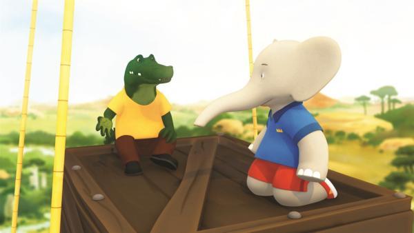 Badou und Theo wollen den kranken Krokodilen helfen. Schließlich muss Badou auf Theo vertrauen, als sich die beiden in den Krokodilsümpfen verirren, denn da ist Theo zu Hause. | Rechte: KiKA/Nelvana Limited/TeamTO/YTV Productions
