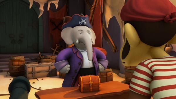 Ist der geheimnisvolle purpurne Pirat in Wahrheit König Babar? | Rechte: KiKA/Nelvana Limited/TeamTO/YTV Productions