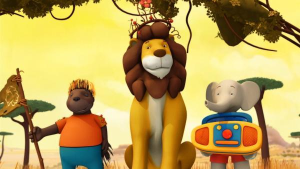 Badou will Andi zu einem wahren König machen und hilft, den Löwen total umzustylen. | Rechte: KiKA/Nelvana Limited/TeamTO/YTV Productions