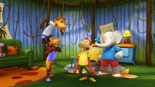 Die Affen sind echte Fans von Badou, seit er General Huc gerettet hat. | Rechte: KiKA/Nelvana Limited/TeamTO/YTV Productions