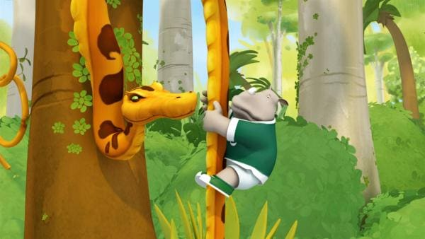 Nach einem Ballon-Absturz finden sich Badou und seine Freunde im Dschungel wieder | Rechte: KiKA/Nelvana Limited/TeamTO/YTV Productions