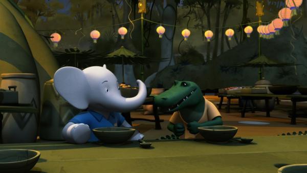 Badou muss verhindern, dass sich Krokodilus mit Hilfe einer gefälschten Weisheitskröte zum Boss ernennt. | Rechte: KiKA/Nelvana Limited/TeamTO/YTV Productions