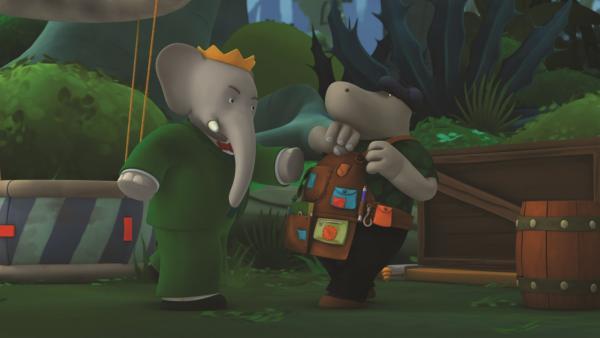 König Babar verlangt von Herrn Flussik die Ploppernüsse zurück. | Rechte: KiKA/Nelvana Limited/TeamTO/TF1