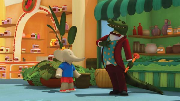 Badou versucht mit einer List, Krokodilus die Flöte abzunehmen.   Rechte: KiKA/Nelvana Limited/TeamTO/TF1