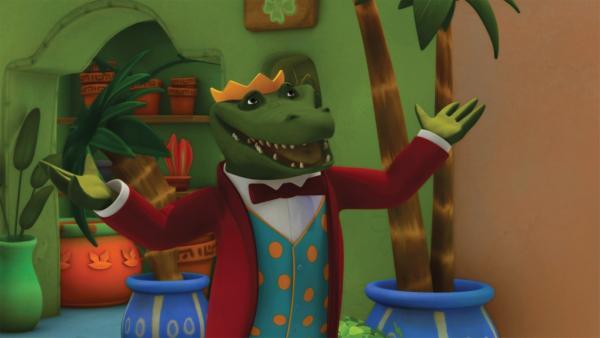 Endlich hat Botschafter Krokodilus erreicht, was er schon immer wollte: Er ist der König.   Rechte: KiKA/Nelvana Limited/TeamTO/TF1