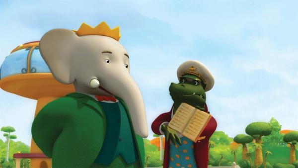 Botschafter Krokodilus erklärt König Babar, dass er sich unmöglich das ganze Regelbuch durchlesen kann. | Rechte: KiKA/Nelvana Limited/TeamTO/TF1