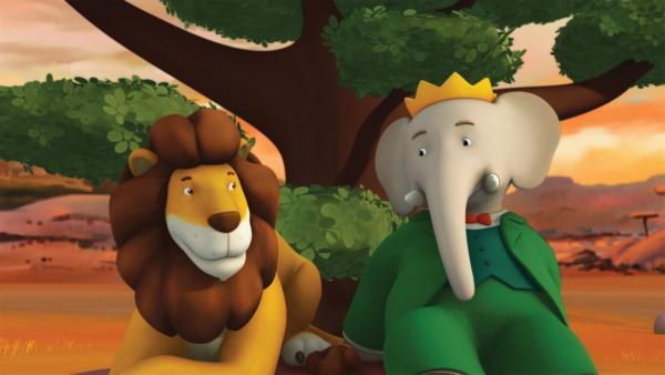 Andi und Babar in der Savanne. Sie wollen den Windgleiter ausprobieren. | Rechte: KiKA/Nelvana Limited/TeamTO/TF1