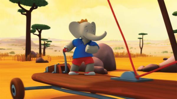 Badou fährt den Windgleiter seines Opas. | Rechte: KiKA/Nelvana Limited/TeamTO/TF1