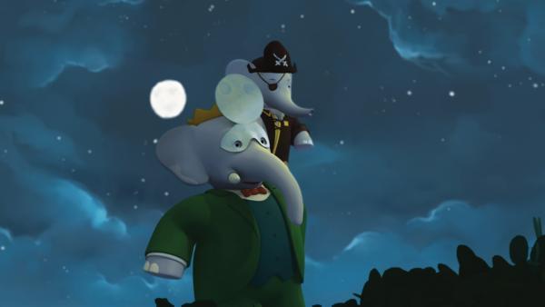 Babar trägt Badou auf den Schultern, damit er Kapitän Blauzahn auf seiner Flucht besser fassen kann.  | Rechte: KiKA/Nelvana Limited/TeamTO/TF1