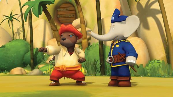 Munroe und Badou sind heute als Piraten verkleidet. | Rechte: KiKA/Nelvana Limited/TeamTO/TF1