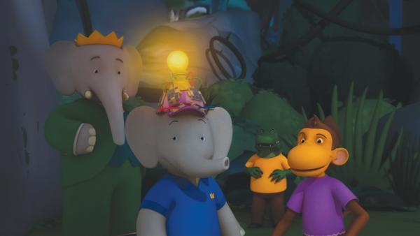 Badou trägt Chikus neue Erfindung: Einen Solarhut, der am Tag Sonnenenergie lädt, um nachts zu leuchten.  | Rechte: KiKA/Nelvana Limited/TeamTO/TF1