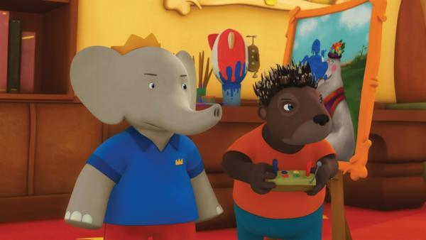 Badou und Munroe sind wegen des Fleckes auf dem Portrait sauer auf Krokodilus.  | Rechte: KiKA/Nelvana Limited/TeamTO/TF1