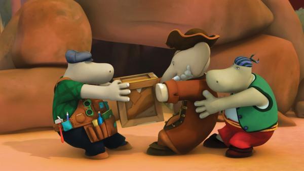 Hier streiten sich die drei Eindringlinge um einen vermeintlichen Schatz. | Rechte: KiKA/Nelvana Limited/TeamTO/TF1