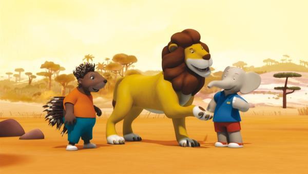 Munroe, Badou und der lässige Löwe Andi. | Rechte: KiKA/Nelvana Limited
