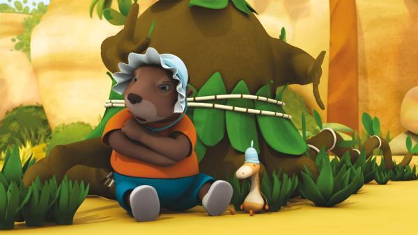 Munroe muss das Baby spielen. | Rechte: KiKA/Nelvana Limited
