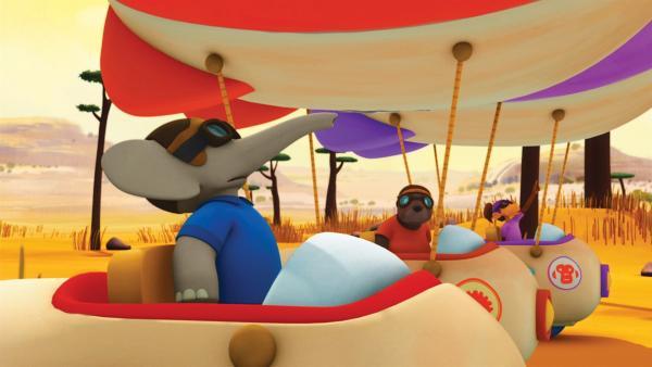 Badou, Munroe und Chiku in ihren Vollgas-Ballons kurz vor dem Start des großen Luftrennens. | Rechte: KiKA/Nelvana Limited