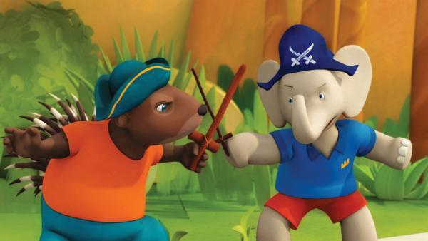 Munroe und Badou spielen Piraten. | Rechte: KiKA/Nelvana Limited