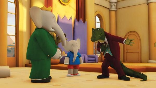Botschafter Krokodilus versucht bei König Babar und Badou mit seiner schleimigen Art, an Informationen zu kommen. Er will unbedingt die goldene Freundschaftsmedaille haben. | Rechte: KiKA/Nelvana Limited
