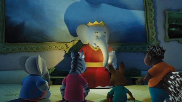 Königin Celeste erzählt Badou, Munroe, Zawadi und Fitz eine gruselige Geschichte vom Palastgeist. | Rechte: KiKA/Nelvana Limited