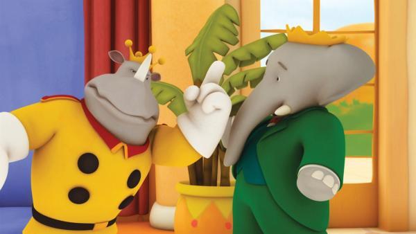 Lord Rataxes ermahnt König Babar. Der Rhinozer-Rubin muss schnellstens gefunden werden. | Rechte: KiKA/Nelvana Limited