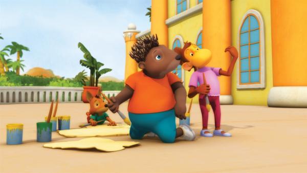 Während Badou seinen Pflichten als Prinz nachgehen muss, bereiten seine Freunde einen gebührenden Empfang für den bewunderten Heldopotamus vor. | Rechte: KiKA/Nelvana Limited
