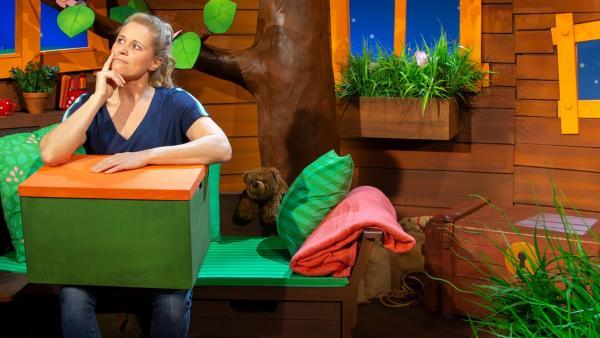 Singa findet einen Rätselkarton mit einer Spinne und einem Wäschesack. | Rechte: KiKA/Dorit Jackermeier