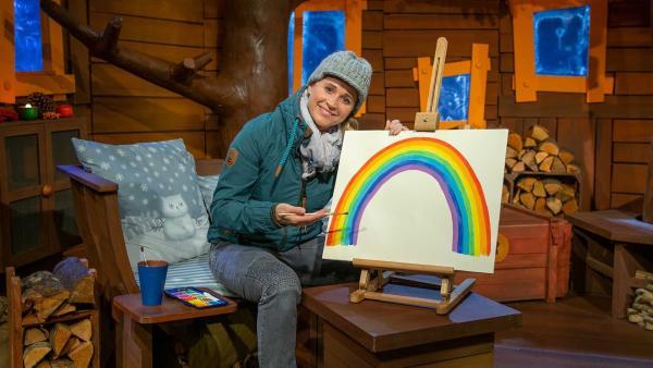 Singa malt einen Regenbogen. | Rechte: KiKA/Dorit Jackermeier