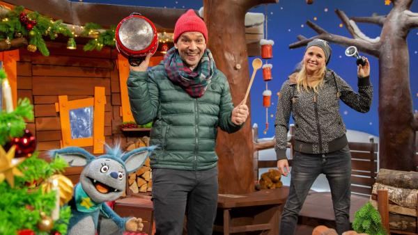 Juri, Singa und Fidi freuen sich auf Silvester. | Rechte: KiKA/Josefine Liesfeld