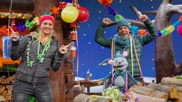 Juri, Singa und Fidi feiern Silvester. | Rechte: KiKA/Josefine Liesfeld