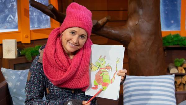Singa malt ein Fantasie-Haustier. | Rechte: KiKA/Josefine Liesfeld