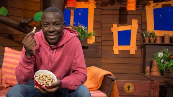 Matondo isst Erdnüsse. | Rechte: KiKA/Josefine Liesfeld