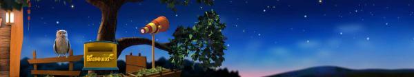 ein blauer Abendhimmel mit Sternen. Auf der linken Seite sitzt ein Uhu neben einem gelben Briefkasten auf dem Baumhaus steht. Rechts vom Briefkasten steht das orange gelb rot gestreifte Fernrohr und im Hintergrund ist ein großer Baum.