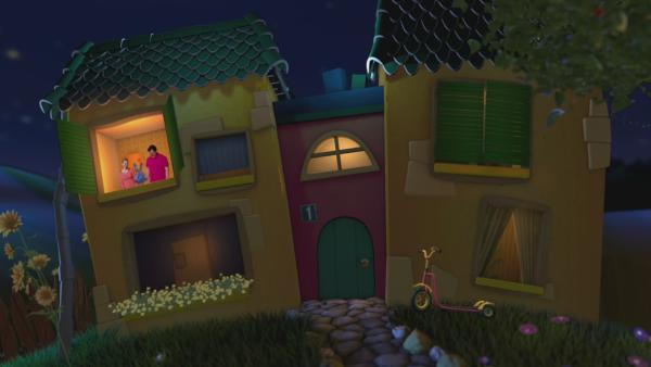 Anni, Kikaninchen und Christian schauen aus dem oberen Fenster aus dem Gute-Nacht-Haus und planen Sommerschäfchenwolken zu zählen. | Rechte: KiKA
