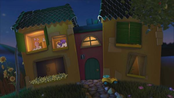 Elefant und Hase im Gute-Nacht-Haus | Rechte: KiKA