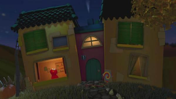 Elmo schaut aus dem Gute-Nacht-Haus. | Rechte: KiKA