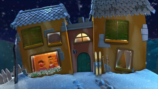Ernie und Bert im Gute-Nacht-Haus | Rechte: KiKA