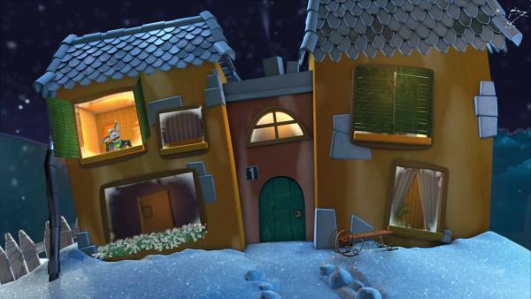 Fidi winkt fröhlich aus dem Gute-Nacht-Haus und wünscht eine gute Nacht. | Rechte: KiKA