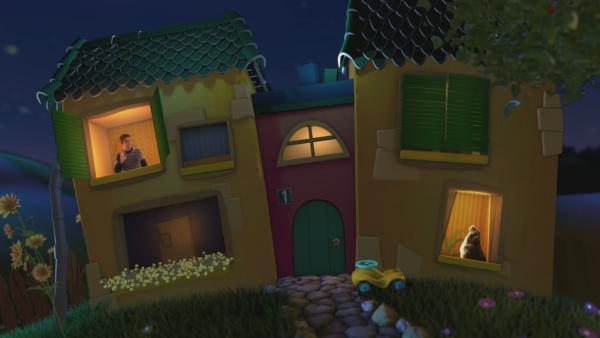 Fritz Fuchs winkt aus dem Fenster des Gute-Nacht-Hauses seinem Hund Keks zu. | Rechte: KiKA