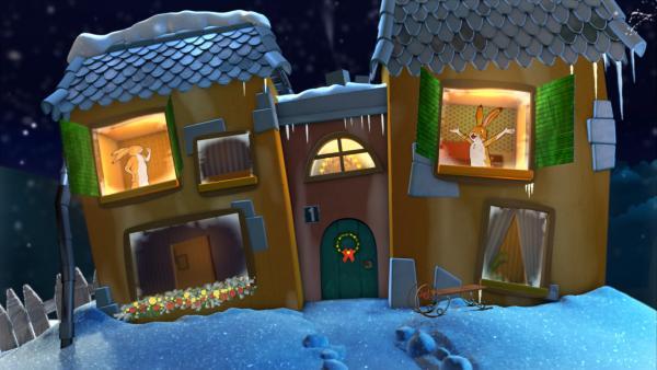 Kleiner und großer brauner Hase im Gute-Nacht-Haus | Rechte: KiKA
