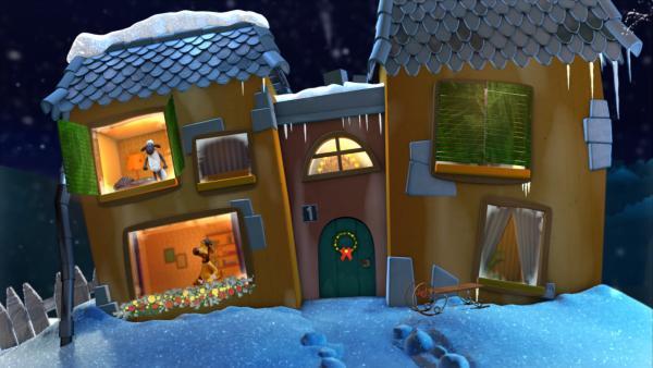 Shaun und Bitzer im Gute-Nacht-Haus | Rechte: KiKA