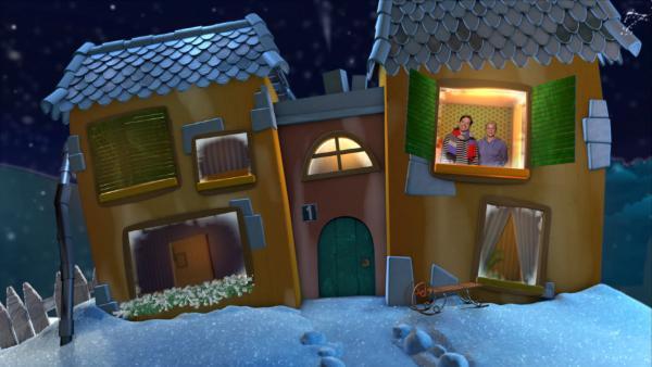 Singa und Juri im winterlichen Gute-Nacht-Haus | Rechte: KiKA