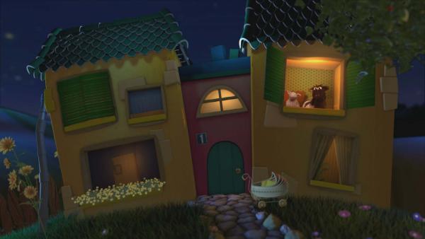 Wolle und Pferd im Gute-Nacht-Haus | Rechte: KiKA