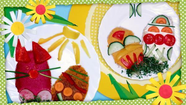 Zwei Osterteller mit Brotscheiben, die wie Eier geschnitten und mit Gemüse bunt belegt sind. So sehen die Brote wie Ostereier aus. | Rechte: KiKA