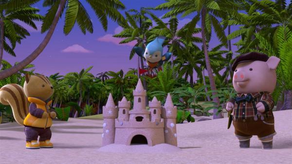 Rumy, Jay und Bean haben eine Sandburg gebaut.   Rechte: BR/Enpop Co. Ltd.