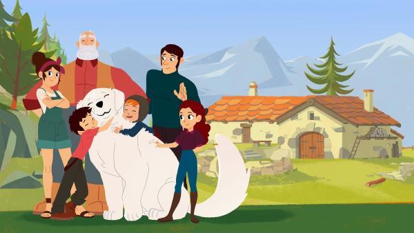 Der Waisenjunge Sebastian und sein Hund Belle sind unzertrennlich. Bei Großvater César haben beide ein Zuhause gefunden.<br/>(v.l.n.r.: Angelina , César, Sebastian, Belle, Sören, Dr. Wilhelm und Adele) | Rechte: ZDF/Gaumont Animation/PP Animation III Inc.