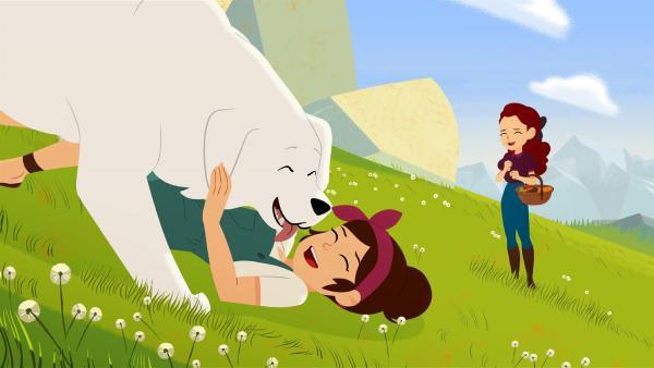 Belle (links) freut sich riesig über Angelinas (Mitte) Besuch in den Bergen.   Rechte: ZDF/Gaumont Animation/PP Animation III Inc.
