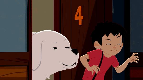 Sebastian (rechts) schmuggelt Belle in den Gasthof.   Rechte: ZDF/Gaumont Animation/PP Animation III Inc.